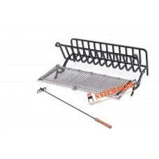 SATEMAKER Heavy Rectangular Fire Grate 62x60cm with Rotating Barbecue Grill Grid dept 32cm incl. Rake